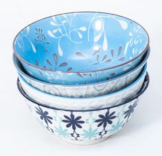Turquoise Bowl Set - Medium - Set Of 4 - Serendipity Gifts Bowl Set, Dinnerware, Porcelain, Turquoise, Dining, Medium, Tableware, Gifts, Dinner Ware