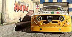 Alfa Romeo GTA Shilouette (Carrera) in Diorama Cobblestone Street #alotslot #slotcar #diorama #scalextric #carrera #carrera #dtm #alfaromeo #gt #oldcar #motorsports #rally #cobblestone #street #adoquines #calle #sun #sol #racing #wrc #wtcc #tuning #alfa #italiancar #132scale #modelcar #toycar