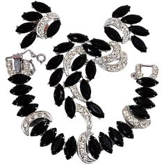 Sarah Coventry 'Vienna Nights' Earrings, Bracelet and Pin Vintage Costume Jewelry, Vintage Costumes, Vintage Jewelry, Sarah Coventry Jewelry, Saint Stephen, Black Stones, Money Matters, Necklaces, Bracelets