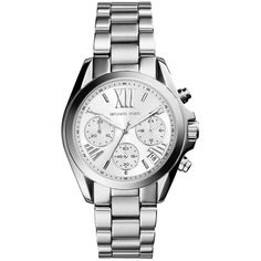 Michael Kors Mini Bradshaw Silver-Tone Watch ($220) ❤ liked on Polyvore featuring jewelry, watches, silver, silver watches, bezel watches, silvertone jewelry, silver jewellery and silvertone watches