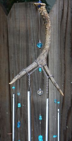 Antler Windchime With Turquois Blue White Glass Beads Polished Aluminum Chimes b. Antler Windchime With Turquois Blue White Glass Beads Polished Aluminum Chimes b… Antler Windchime With Turquois Blue White Glass Beads Polished Aluminum Chimes by aftr Deer Antler Crafts, Antler Art, Deer Antlers, Antler Jewelry, Antler Necklace, Diy Wind Chimes, Suncatchers, Home Crafts, Glass Beads