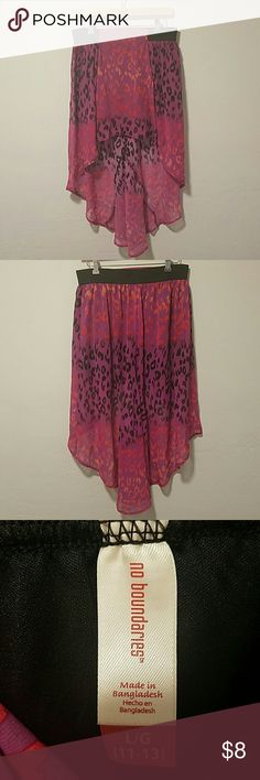 Cheetah Print Skirt Purple and pink cheetah print skirt, the skirt is asymmetrical short in the front long in the back, stretchy waist, great condition No Boundaries Skirts Asymmetrical