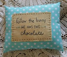 Prim Stitchery follow the bunny Easter Pillow ~ OFG by scrapsofthepast on Etsy