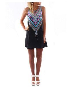 Black Bohemian Short Dress