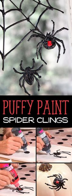 Puffy paint spider clings are great way to decorate pumpkins and windows. Don't forget to make the spider webs with the puff paint too!