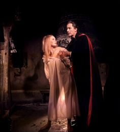 "Veronica Carlson and Christopher Lee in ""Dracula has Risen from the Grave""(1968)."