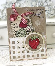 Strawberry Patch Card by Melissa Phillips for Papertrey Ink (April 2012)