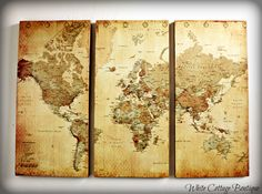3 Piece Map modge-podged onto wood Map Projects, Diy House Projects, Middle Earth Map, World Decor, Fantasy Map, Wall Maps, White Cottage, Diy Wall Decor, Craft Tutorials