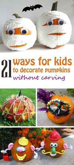 21 ways for kids to decorate pumpkins without carving. Use felt, confetti, washi… Halloween Kostüm, Halloween Projects, Diy Halloween Decorations, Holidays Halloween, Halloween Pumpkins, Non Carving Pumpkin Ideas, Decorating Pumpkins Without Carving, Carving Pumpkins, Pumpkin Contest