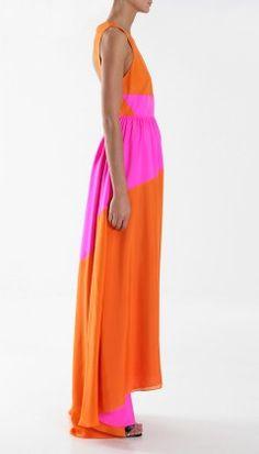 Orange and pink color block maxi dress
