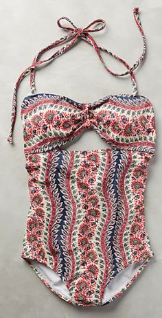 love this coral patterned one-piece swimsuit