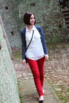 polka dot cardigan and red jeans