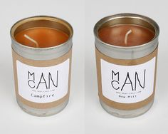 Man Cans. Candles that smell like grass, campire, and new baseball gloves