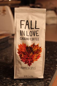 Buy favorite fall flavored coffee at local coffee shop- package in a diy bag- print/stamp bag with a fall message <3