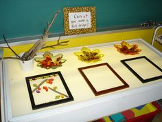 Light table - using fall manipulatives and frames from the dollar store to provoke design making,
