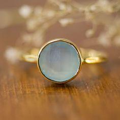 Aqua Blue Chalcedony Ring