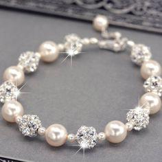 Roxy's Jewelry - Swarovski Pearl and Rhinestone Bridal Bracelet, $57.00 (http://www.roxysjewelry.com/swarovski-pearl-and-rhinestone-bridal-bracelet/)