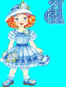 Alfabeto animado retro de niña con vestido azul.
