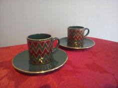 'Wake up' with this Pair of Rich Coloured #Hornsea #Harlequin #ExpressoCup & Saucer, £4 by @RetroNautik - Here we have a pair of sumptuous rich -coloured Green,Red and Gold Harlequin expresso cups and saucers. Great for display purposes or if you want to feel a bit decadent when drinking your early morning expresso. Both items are in excellent condition without chips or cracks.