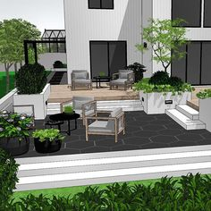 🌿Thursday tips🌿 Use different levels when planning your outdoor living area. This creates an exiting and dynamic flow to the space… Backyard Seating, Backyard Patio Designs, Modern Landscaping, Backyard Landscaping, Outdoor Living Rooms, Small Backyard Pools, Outdoor Furniture Sets, Outdoor Decor, Interior Design Living Room