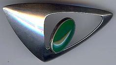 N.E. From, Denmark, Vintage Modernist Sterling Silver and Chrysoprase Brooch