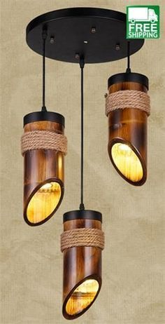 Hemp Robe and Bamboo Tube Chandelier Light