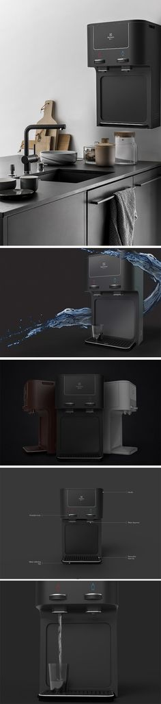 The Electrolux Evno is a conceptual wall mounted tankless water filter that brings a clean design to a product meant to clean our water. Aside from its pure aesthetic, it explores a new user experience, by bringing rotating faucet-style dispenser mechanisms to the product.