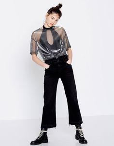 Μπλούζα γυαλιστερό τούλι - Μπλουζάκια - Ενδύματα - Γυναικεία - PULL&BEAR Ελλάδα