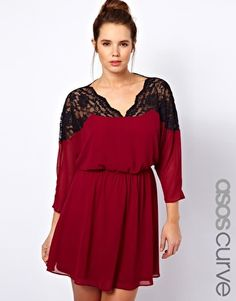 ASOS Curve   ASOS CURVE Skater Dress With Lace Top And Scallop Neck at ASOS