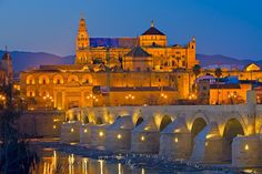 Photo of the Cathedral Mosque, aka Mezquita, at dusk in the city of Cordoba, Andalusia, Spain.
