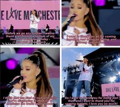 Ariana Grande has always been a beautiful human, but after last night& One Love Manchester concert, the whole world knows it. Manchester Ariana Grande, Ariana Grande Fans, Ariana Grande Quotes, Bae, Dangerous Woman Tour, Sam And Cat, Queen Love, Music Heals, She Song