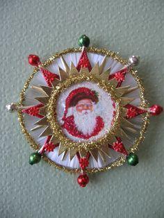 Rare Tinsel Vintage Reflector Vtg Glass Beads Dresdens Vintage Look Santa Christmas Ormament Victorian-German Scrap Spun Glass Comet