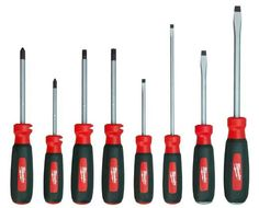 The Milwaukee Screwdriver Set features 8 tools made with durable metal caps on rubber handles and hardened tips to help prevent damage. The integrated wire strippers and wire-bending holes can be used with up to wire.
