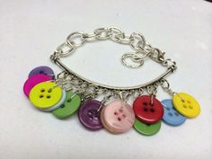 Charm Bar Button Bracelet by BornAgainButtons on Etsy, $10.00
