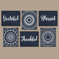Grateful thankful blessed wall decor, bedroom quote wall art, canvas or print gray living Wall Art Sets, Diy Wall Art, Diy Art, Wall Decor, Mandala Art Lesson, Mandala Drawing, Watercolor Mandala, Mandala Canvas, Mandala Artwork