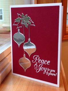 Clairmont Ornaments die (Memory Box), Peace and Joy (Hero Arts sentiment), Silver Foil, White embossing powder