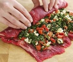 Flank Steak Stuffed With Peppers, Blue Cheese & Spinach | Recipe Knead