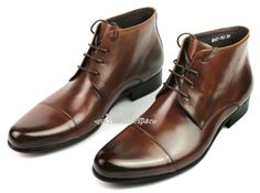 New Men's Leather Shoes Ankle Boots Lace Up Dress or Casual Black or Brown | eBay