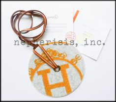 Hermes porcelain round pendant from Mosaique au 24 Faubourg collection. This is an extra large pendant. Great statement necklace. New condition with Hermes box & ribbon.