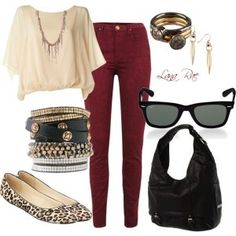 love the maroon pants! actually, love this whole thing! Definetly recreating this look fall!