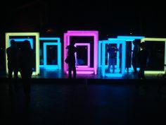 urban installation with colored lights, Sanlitun area, Beijing 21 September 2013