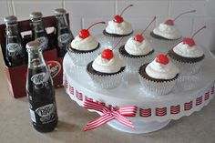 chubby chicks with oven mitts: Cherry Dr. Pepper Cupcakes