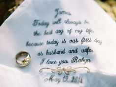 Embroidered handkerchief| Sarah Rose Burns Photography | see more on: http://burnettsboards.com/2014/07/mountaintop-elopement/