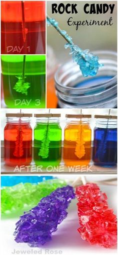 ROCK CANDY EXPERIMENT: A beautiful Science experiment & a yummy treat all in one. My kids loved checking on their jars each day to see if the rock candy had grown! Kids crafts and activities. Rock Candy Experiment, Candy Experiments, Kid Experiments At Home, Easy Science Experiments, Science Demonstrations, Science For Kids, Science Activities, Summer Science, Rock Science