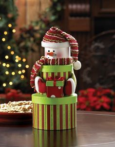 SET OF 4 SNOWMAN TIERED GIFT BOXES GREEN & RED STRIPE HOLIDAY DECOR NEW~10015447