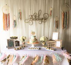 Dessert table @ boho baby shower