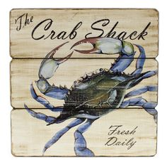 Blue Crab Shack Fresh Daily Wood Wall Sign 11.5 inches *** Find out more about the great product at the image link. (This is an affiliate link and I receive a commission for the sales) #WallSculptures