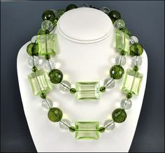 Vintage Lucite Necklace Olive Lime Green Crystal by boylerpf