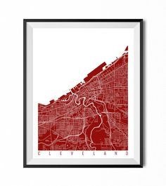 CLEVELAND Map Art Print / Ohio Poster / Cleveland Wall Art Decor / Choose Size and Color