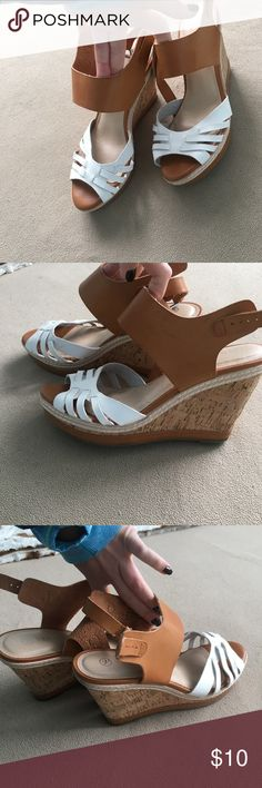 Women's wedges Women's size 10 wedge worn 2 times white and brown! Actually comfortable Versona Shoes Wedges
